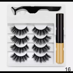 4 pairs magnetic lashes with liner and tweezer